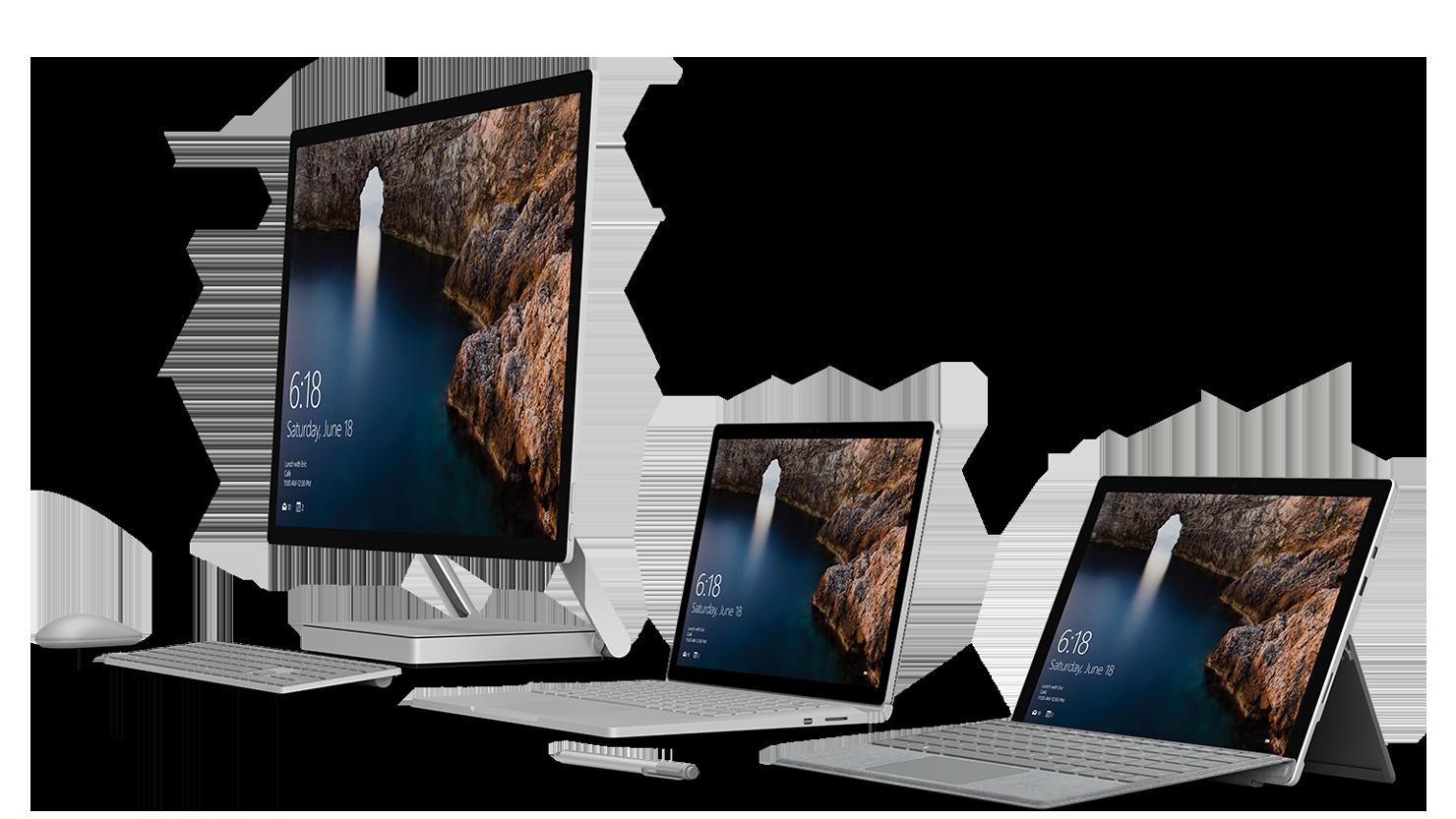 Microsoft Surface Studio 2, Book 3, and Pro 7